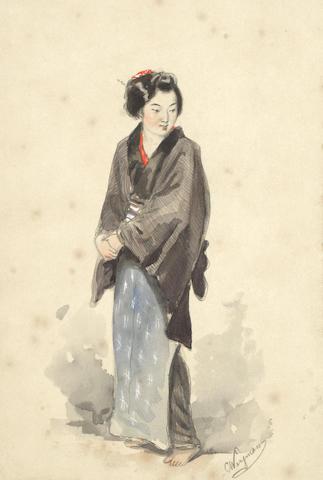 Charles Wirgman Sr. (British, 1832-1891) A set of four figure studies depicting Japanese women each 24.5 x 16.5cm (9 5/8 x 6 1/2in). (4) unframed