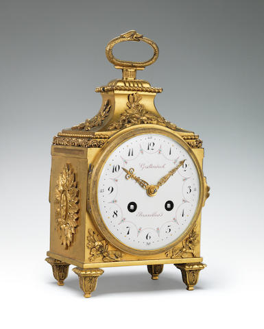 A good early 20th century French ormolu pendule d'officer signed Grottendieck Bruxelles
