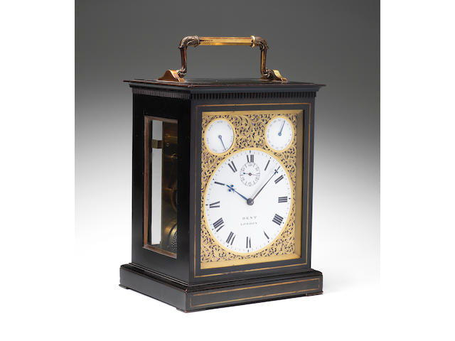 An exceptionally fine mid 19th century English twin train, quarter chiming carriage clock of magnificent proportions, in the original travelling case  Dent, London 12917 2