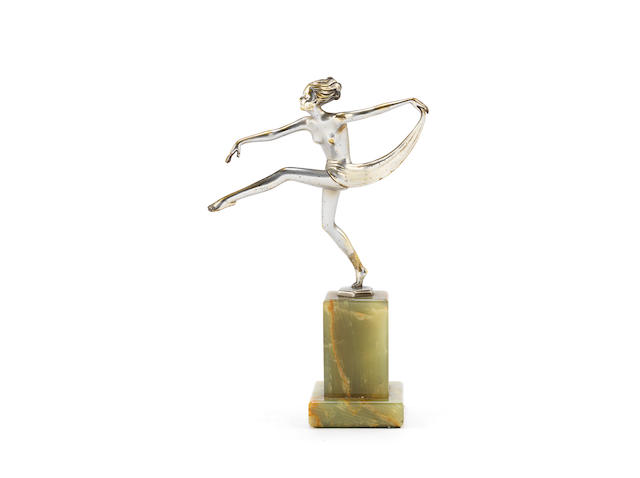 'Scarf Dancer' an Art Deco Silvered Bronze Figure by Josef Lorenzl SIGNED IN CAST 'LORENZL'; CIRCA 1930