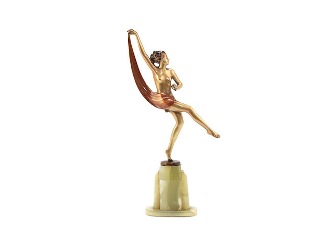an art deco gilded bronze and cold-painted model of a scarf dancer by josef lorenzl SIGNED IN CAST, CIRCA 1925