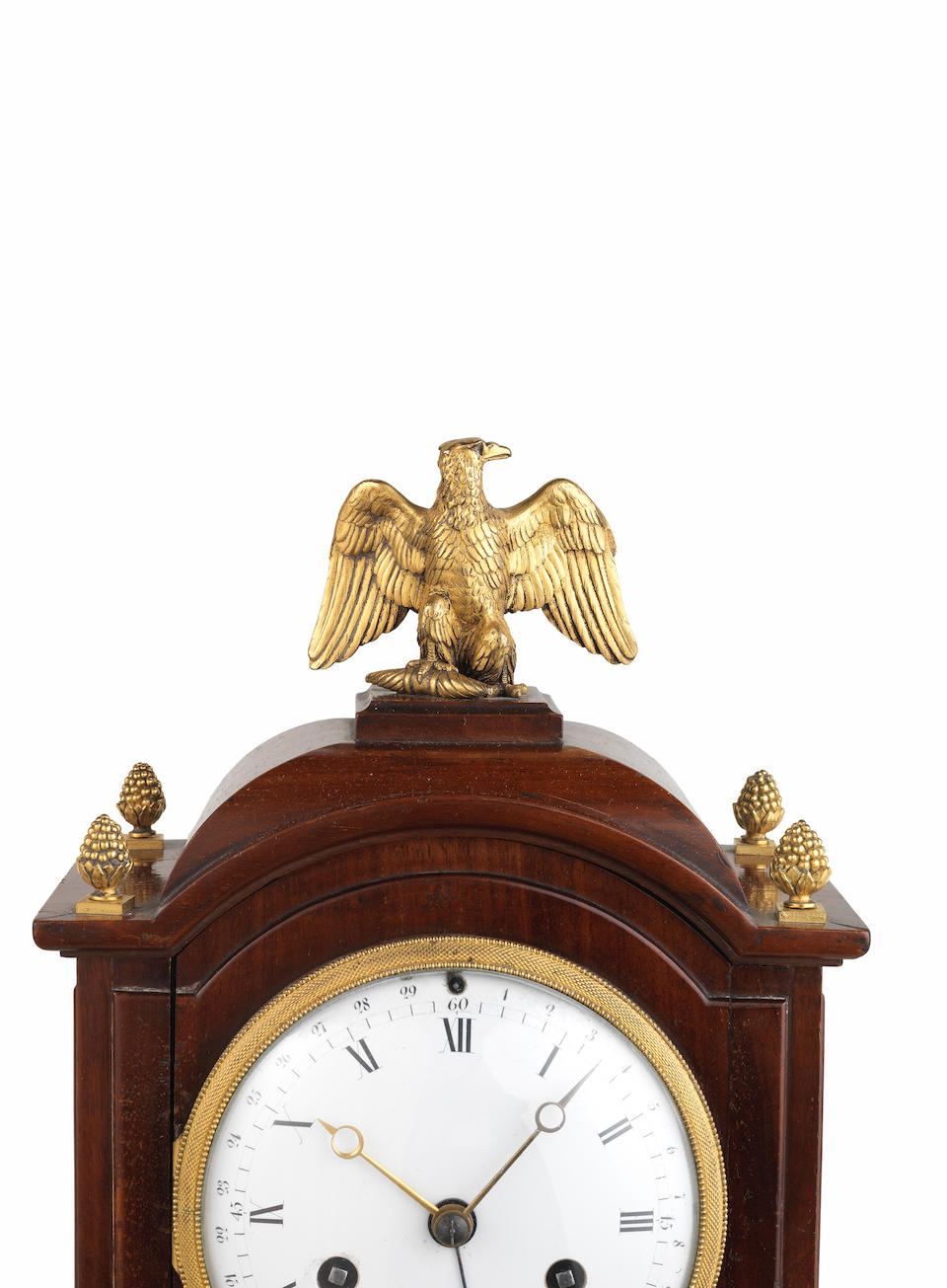 An early 19th century mahogany table clock with moonphase indication Robin, de la Societe des Inventions de France