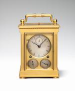 A fine and rare second quarter of the 19th century Swiss ormolu grande sonnerie-striking travel clock with alarm, calendar, repeat facility and chronometer escapement DuBois et Cie, Chaux de Fonds en Suisse