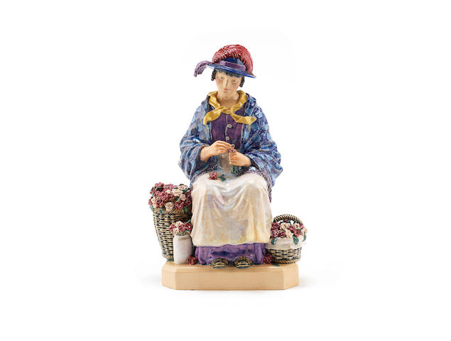 a chelsea pottery figural study of a flower seller by harry parr IMPRESSED ARTIST NAME, DATED 1928