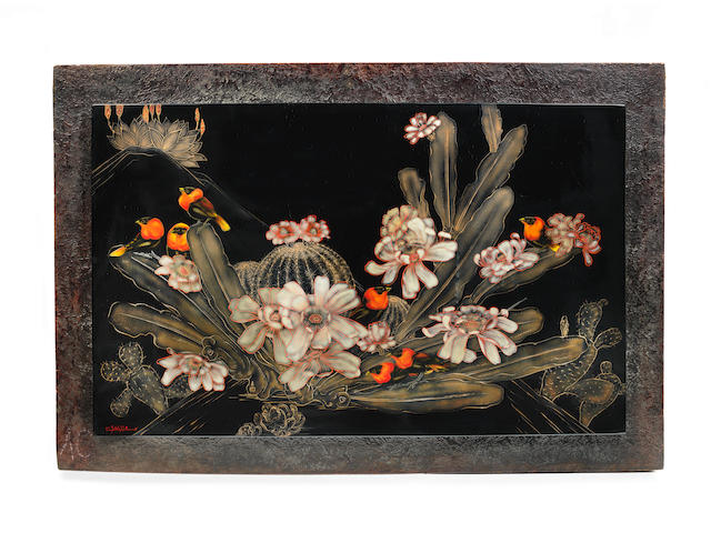 A large polychrome lacquered panel by Gaston Suisse ARTIST SIGNATURE, CIRCA 1935