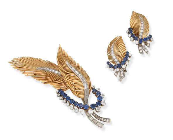 A sapphire and diamond brooch and earclip suite, circa 1960 (2)