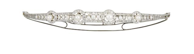 An early 20th century natural pearl, cultured pearl and diamond bracelet/diadem (2)