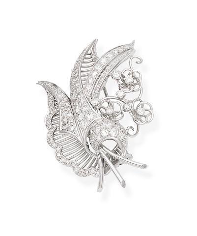 A mid-century diamond spray brooch