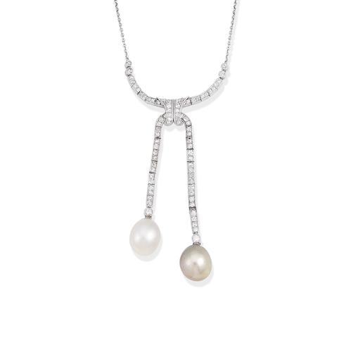 A Belle Époque natural pearl and diamond negligée necklace,