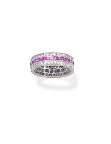 A sapphire, ruby and diamond eternity ring