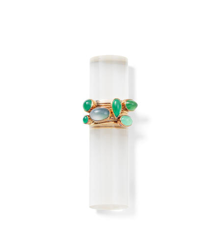 A set of seven stacking rings, by Wendy Ramshaw, (7)