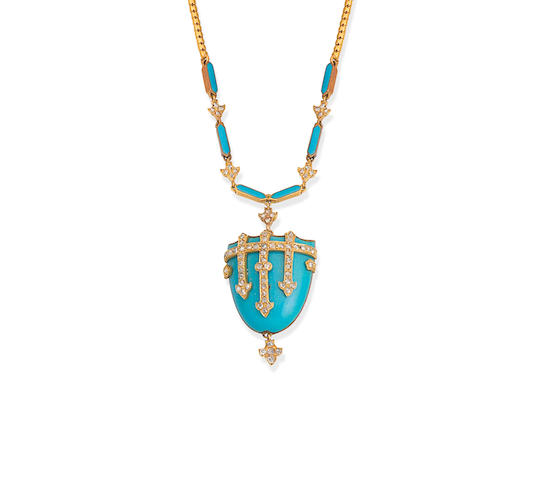 An enamel and diamond necklace,