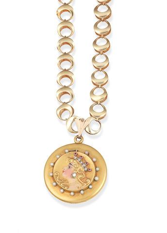 A gem-set locket/pendant necklace