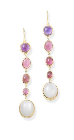 A pair of gem-set pendent earrings