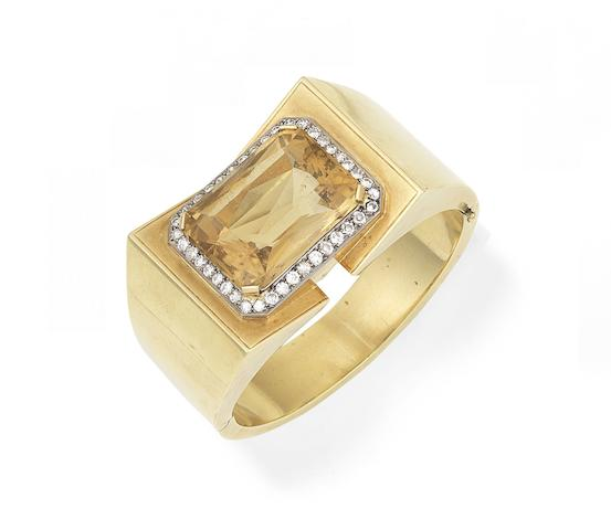 A citrine and diamond cuff, circa 1970