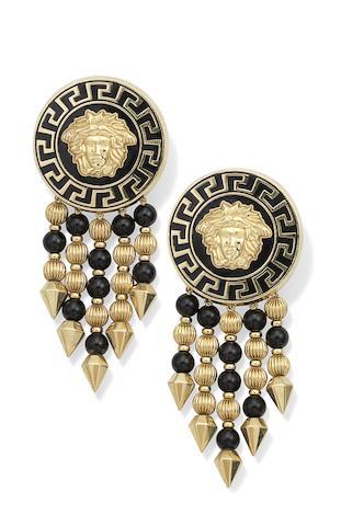 A pair of enamel earrings, by Versace