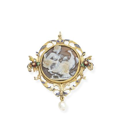 A Neo-Renaissance gold, enamel, hardstone cameo and pearl pendant,