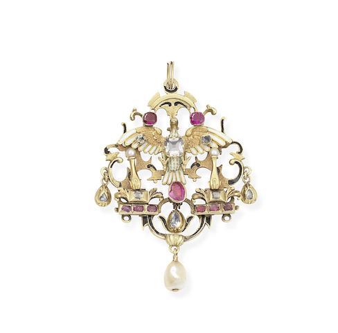 A Neo-Renaissance gold, enamel, ruby, diamond and pearl pendant,