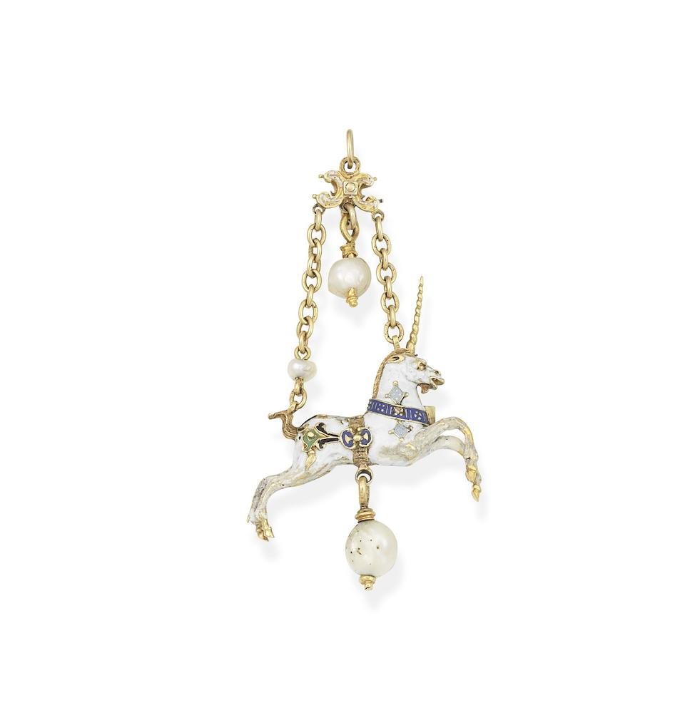 A Neo-Renaissance gold, enamel and gem-set unicorn pendant,