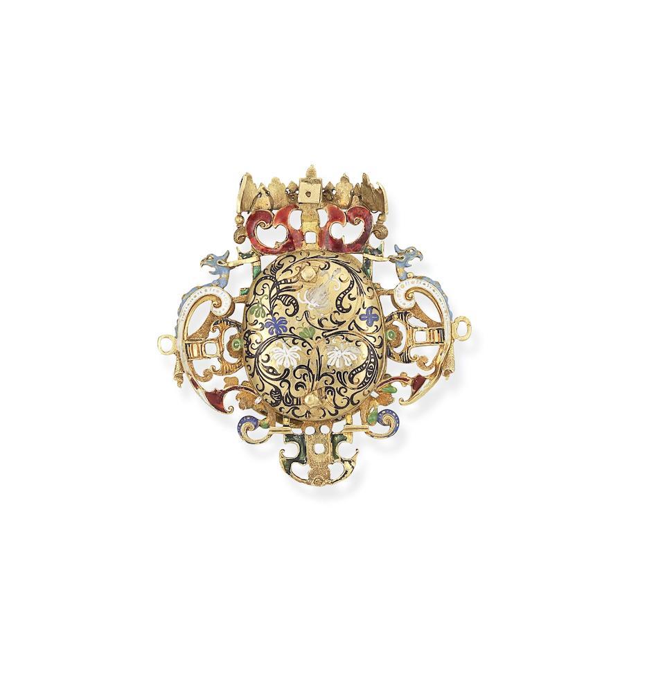 A Neo-Renaissance gold, enamel and gem-set pendant,