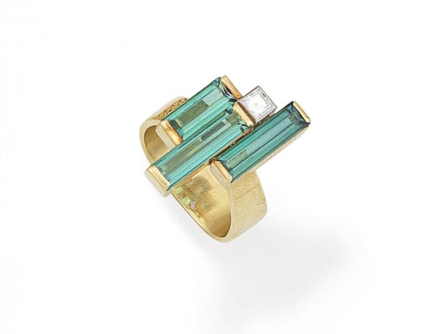 A tourmaline and diamond ring, by Andrew Grima,