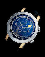 Patek Philippe. An extremely fine and rare platinum and rose gold automatic astronomical wristwatch with sky chart, phase and orbit of the moon, time of meridian, passage of Sirius and the moon Celestial, Ref: 5102PR-001, Circa 2009