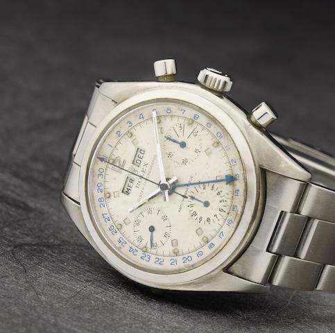 Rolex. An extremely rare stainless steel manual wind triple calendar chronograph bracelet watch  Jean Claude Killy, Ref: 6036, Circa 1953