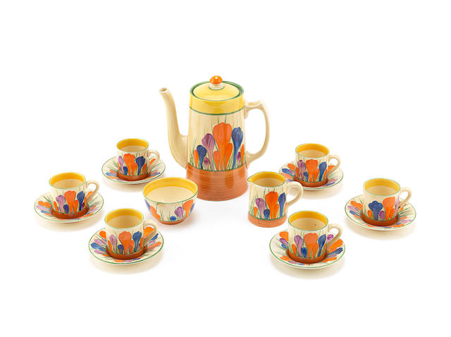 A Clarice Cliff 'Crocus' Pattern Coffee Set PRINTED FACTORY MARKS; CIRCA 1940