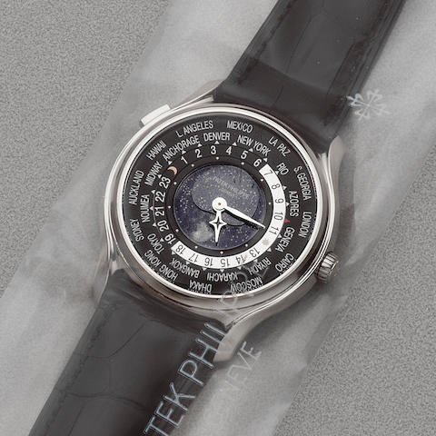 Patek Philippe. A fine factory sealed 18K white gold automatic calendar wristwatch with world time and moon phase  175th Anniversaire 1839-2014, Ref: 5575G-001, Circa 2014
