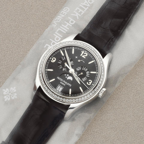 Patek Philippe. A fine factory sealed 18K white gold and diamond set automatic triple calendar wristwatch with moon phase and power reserve Ref: 5147G-001, Sold 28th March 2013