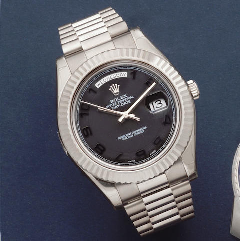 Rolex. An 18K white gold automatic calendar bracelet watch  Day Date II, Ref: 218239, Circa 2010