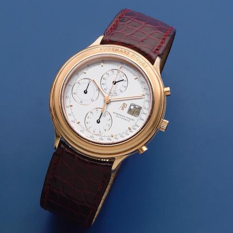 Audemars Piguet. An 18K rose gold automatic calendar chronograph wristwatch  Huitieme, Sold 20th November 1989