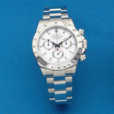 Rolex. A stainless steel automatic chronograph bracelet watch  Daytona, Ref: 116520, Sold 1st December 2007