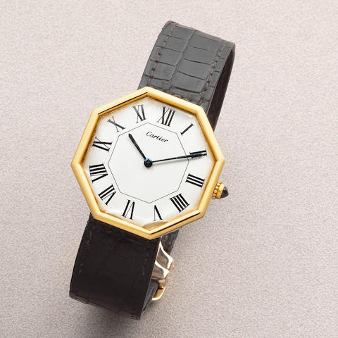 Jaeger-LeCoultre for Cartier. An 18K gold manual wind octagonal wristwatch London Hallmark for 1976