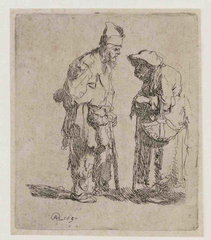 Rembrandt Harmensz. van Rijn (Dutch, 1606-1669) Beggar man and Beggar Woman conversing Etching with plate tone, 1630, a later impression of the second state (of three), with the horizontal scratch between the figures, on laid paper, with narrow margins, generally in good condition Plate 78 x 66mm., Sheet 83 x 69mm. (unframed)
