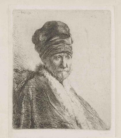 Rembrandt Harmensz. van Rijn (Dutch, 1606-1669) Bust of a Man wearing a high cap, three-quarters right: The Artist's Father (?) Etching and drypoint, 1630, the fourth state (of six), on laid paper, with small margins, generally in good conditionPlate 102 x 84mm., Sheet 114 x 92mm. (unframed)