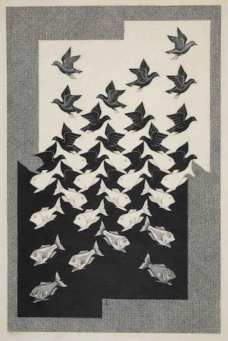 Maurits Cornelis Escher (Dutch, 1898-1972) Sky and Water II Woodcut, 1938, on Japan paper, signed in pencil, with margins, minor light-staining, otherwise in good condition Image 620 x 507mm., Sheet 682 x 482mm.