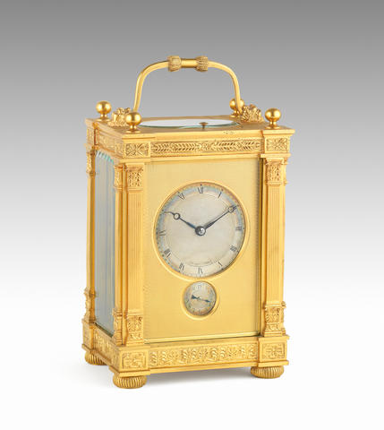 An early 20th century French ormolu grande sonnerie carriage clock. Breguet, No.4281