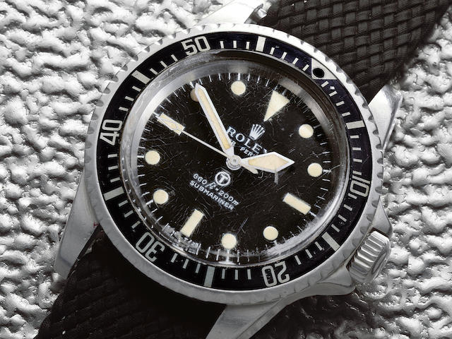 Rolex. A rare military issue stainless steel automatic wristwatch  Submariner, Ref: 5513, Circa 1972