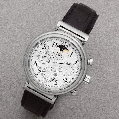 IWC. A stainless steel automatic triple calendar chronograph wristwatch with moon phase  Da Vinci Perpetual Calendar, Ref: 3758, Sold 25th March 2005