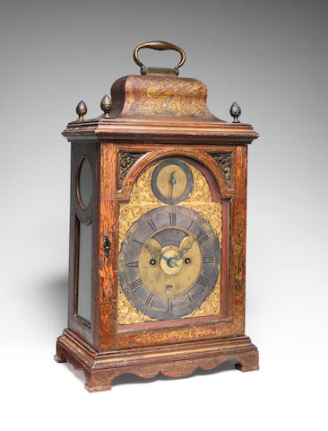 A good mid 18th century red japanned alarm table clock  James Smith, London