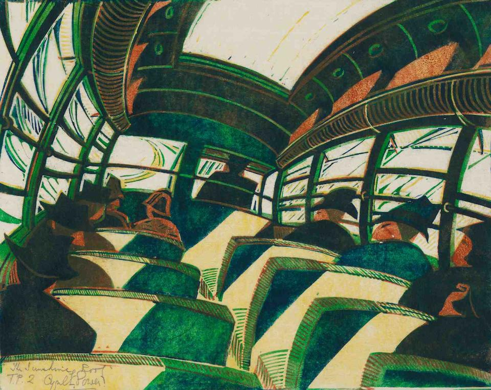 Cyril Edward Power (British, 1872-1951) The Sunshine Roof Linocut printed in yellow, warm brown, viridian and Prussian blue, circa 1934, on buff oriental laid tissue, an excellent richly inked impression, signed, titled and inscribed 'T.P. 2', a trial proof before the published edition of 60, with margins, in good conditionBlock 260 x 330mm., Sheet 300 x 385mm. (unframed)