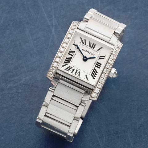 Cartier. A lady's 18K white gold and diamond set quartz bracelet watch  Tank Française, Ref: 2403, Circa 2005