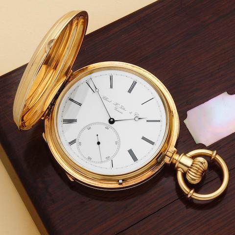 Albert H. Potter & Co, Geneva. A very fine and rare 18K gold keyless wind full hunter chronometer pocket watch Circa 1875