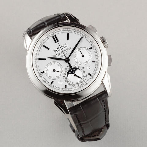 Patek Philippe. A very fine 18K white gold manual wind perpetual calendar chronograph wristwatch with moon phase Ref: 5270, Sold 16th April 2013