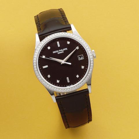 Patek Philippe. A fine 18K white gold and diamond set automatic calendar wristwatch  Calatrava, Ref: 5297, Sold 10th April 2014