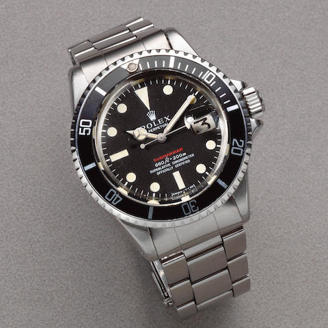 Rolex. A rare stainless steel automatic calendar bracelet watch  Single Red Submariner, Ref: 1680, Circa 1972