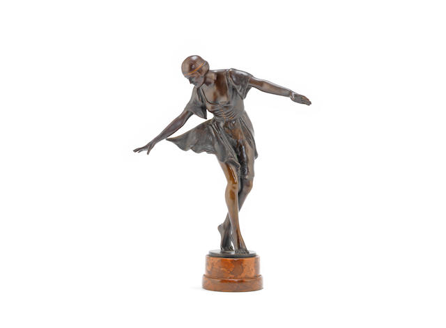 an art deco patinated bronze model of a dancing girl, by a.keller SIGNED IN CAST, CIRCA 1925