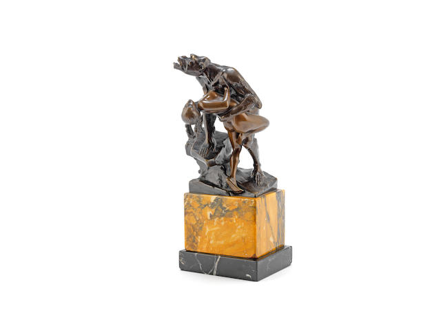 'swept away' an erotic austrian patinated bronze study of a large ape clasping a naked female, by mazura SIGNED IN CAST, CIRCA 1925