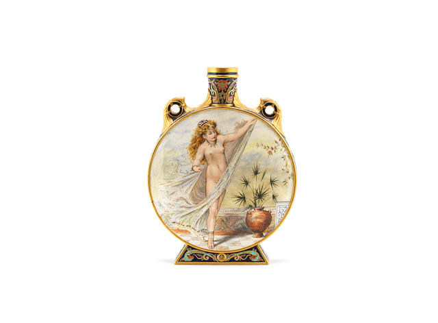 a Minton aesthetic movement moon flask hand-painted by william james goode after w.s coleman  ARTIST NAME DATED 'SEPT 1870' TO BASE
